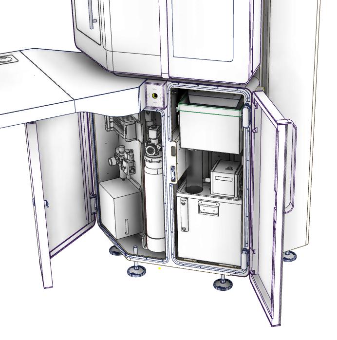 Partie inférieure de la Micro5 ouverte en schéma